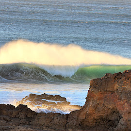 Big Wave Day by Rick Blakeley - Landscapes Beaches ( spray, waterscape, green, waves, pacific ocean, seascape )