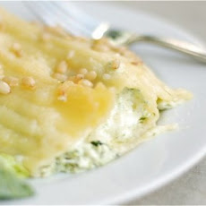 Arugula & Pea Manicotti with Toasted Pine Nuts