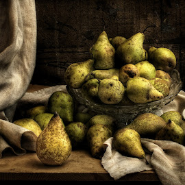 Still life with pears by Grigore Roibu - Artistic Objects Still Life ( bowl, concept, fruit, peinture, aroma, still life, breakfast, green, fruits, vegetables, beauty, table, curtain, color, jar, food, eating, pears, jug, light )