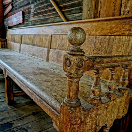 Have a Seat by Barbara Brock - Artistic Objects Furniture ( bench, pew, carved wood bench, wood bench )