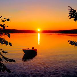 North Pond Sunset; Smithfield, Maine by John Roberts - Landscapes Sunsets & Sunrises ( water, maine, autumn, 16x9, sunset, boat )