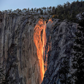 Horsetail Falls Firefall by Brent Clark - Landscapes Sunsets & Sunrises ( firefall, yosemite, horsetail falls, landscape, waterfall.sunset )
