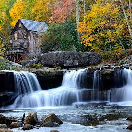 Glade Creek Grist Mill by Willis Jones - Landscapes Travel ( grist, mill, autumn, color, old mill, mill antique, trees, millrace, millwheel )