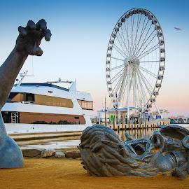 The Awakening by Cindy Hartman - Artistic Objects Other Objects ( capital wheel, awakening, national harbor, maryland, washington dc, potomac river )