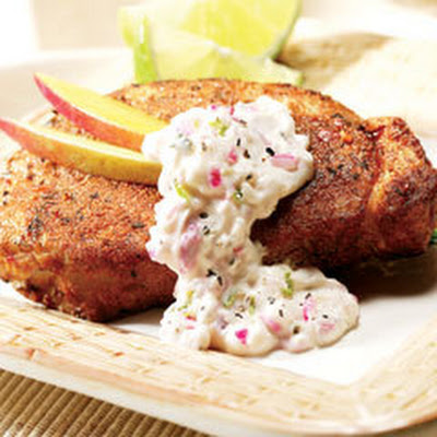 Jamaican Pork With Creamy Lime Salsa