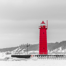 Lighthouse red by Calvin Morgan - Buildings & Architecture Other Exteriors ( winter, lake michigan, ice and snow, lighthouse, nikon d7000 )