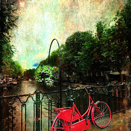The Red Bicycle by Randi Nilsberg - Transportation Bicycles ( ride, vertical, old, europe, colorful, street, retro, amsterdam, transportation, travel, parked, spring, bicycle, city, bike, city view, metal, transport, sunny, dutch, classic, sightseeing, water, cycle, romantic, tourism, traditional, canal, netherlands, landmark, urban, tourist, european, red, vacation, season, biking, holland, outdoor, summer, scene, bridge, view, river )