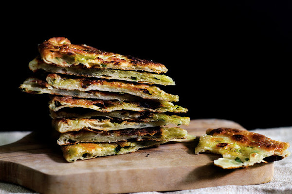 Crispy scallion pancakes, with plenty of layers.