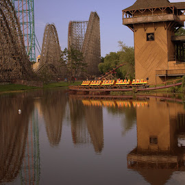 Ride Reflection  by Dale Carney - City,  Street & Park  Amusement Parks ( rides, amusement parks, reflections, roller coaster, fun )