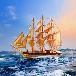 Ship Of Life by Nazir Gohar - Digital Art Abstract ( sunset, ship, digital art, sea, manipulation, photoshop,  )