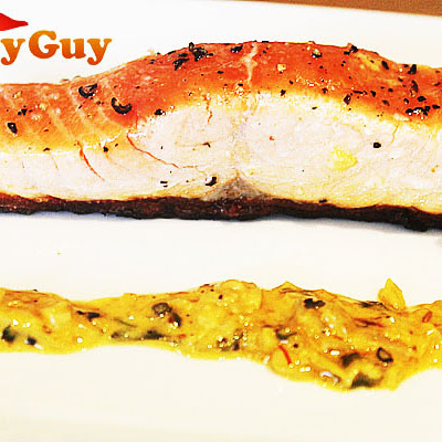 Pan Seared Salmon With A Creamy Saffron Sauce