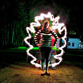 by Nichole Hassemer - Abstract Light Painting ( sparkler, female, light, painting, photo,  )