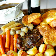 Burgundy Thyme Pot Roast with Yorkshire Pudding Popovers and English Style Roasted Potatoes