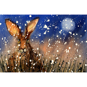 Christmas Hare art print from a watercolour painting