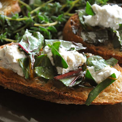 Beet Green and Lemon Chevre Bruschetta