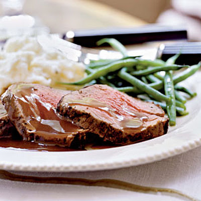 Mixed Peppercorn Beef Tenderloin with Shallot-Port Reduction