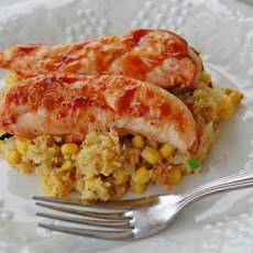 Barbeque Chicken with Southwestern Cornbread Stuffing