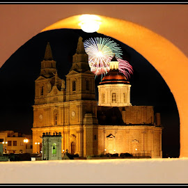 fire works behind the church by Mario Borg - Abstract Fire & Fireworks ( church, malta, mellieha, fireworks )