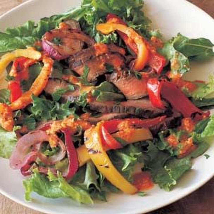 Grilled Steak, Pepper and Onion Salad with Romesco Dressing Recipe ...