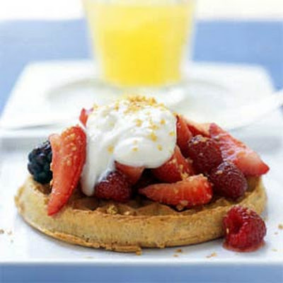 Honeyed Yogurt and Mixed Berries with Whole-Grain Waffles