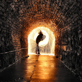 Wirewool tunnel by John Tweedy - Abstract Light Painting ( urban, light painting, wire wool, burning, tunnel )