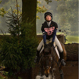 A muddy Ditch by Steve Clifford - Sports & Fitness Other Sports ( water jumps, 3 day eventing, cross country )