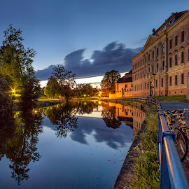 Two bicykles by Petr Kubat - City,  Street & Park  Night ( south bohemia, ceske, budejovice, long exposure, night, dusk, city )