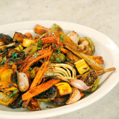 Roasted Fall Vegetable Salad with Squash, Carrots, Pears, and Figs