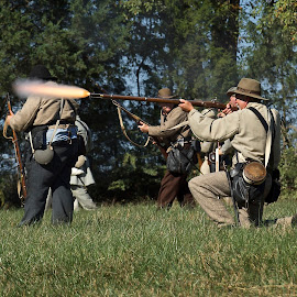 Serious Play by Roy Walter - People Group/Corporate ( guns, civil war reenactment, reenactors, costume, people, fire )