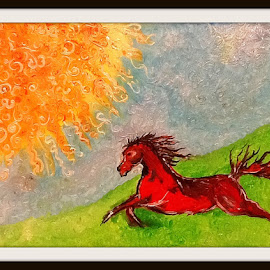 Into the sun by Melissa Parrish - Painting All Painting ( horse, oils, running horse, oil painting, sun,  )