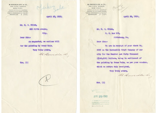 Two letters from M. Knoedler in response to Frick's purchase of the Hals painting.