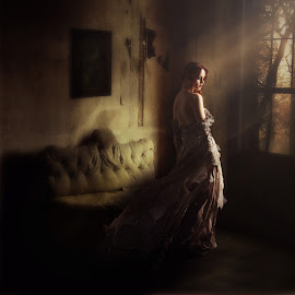 Forgotten by Sunny Neff - Digital Art People ( old house, woman, fine art, alone, conceptual )