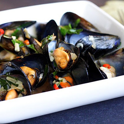 Steamed Mussels with Lemongrass, Thai Basil, Chilies, and Coconut Juice