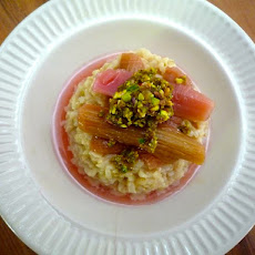 Creamy Vanilla Spice Brown Rice Pudding, with Poached Rhubarb and Pistachio Crumble