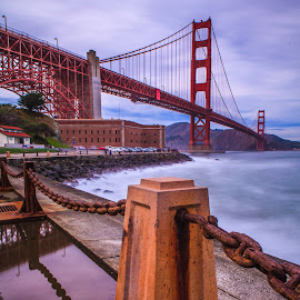 Golden gate bridge. by Bruce Nguyen - Buildings & Architecture Bridges & Suspended Structures ( golden gate bridge, sunset, san francisco, fort point )