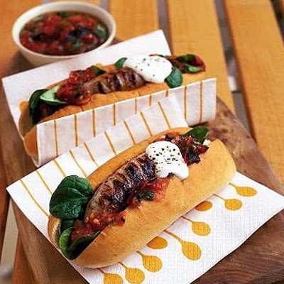 Cumberland Hot Dogs With Charred Tomato Salsa