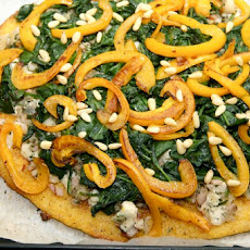 Polenta Pie With Sauteed Vegetables and Pine Nuts