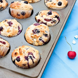 Cherry, Blueberry, and White Chocolate Muffins