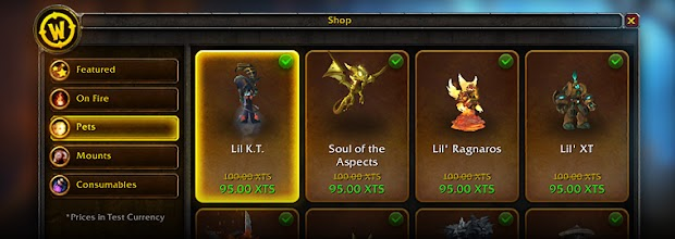 World Of Warcraft in-game store goes live today
