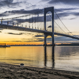 Bridge at dusk by Frank  Galia - Buildings & Architecture Bridges & Suspended Structures ( clouds, bay, new york city, bridge, dusk )