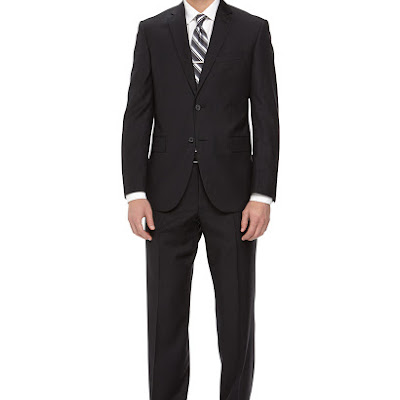 Neiman Marcus Two-Piece Striped Wool Suit, Black - (40S)