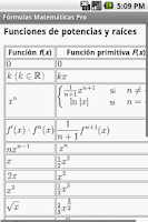 Screenshot of Fórmulas Matemáticas