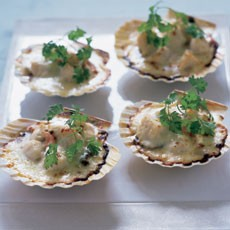 Scallops in the Shell with Cream and Vermouth