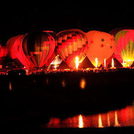 Night Fire by George Kremer - News & Events Entertainment ( reflection, nighttime, balloon fest, glowing, glow, balloon, balloons, fire )