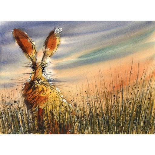 Hare art painting print from watercolour