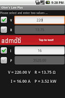 Screenshot of Ohm's Law PLUS