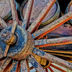 Wine Wagon Wheel by Barbara Brock - Artistic Objects Other Objects ( big wheel, old wagon wheel, wagon wheel, big wagon wheel, rustic wood wagon, wood wheel,  )