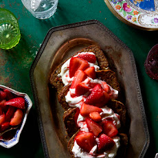 Banana Bread French Toast with Strawberry Sauce & Honey Whipped Cream