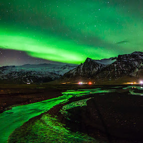Aurora over Eyjafjallajökull by Páll Jökull Pétursson - Landscapes Mountains & Hills ( suðurland, eyjafjöll, 2014, green, aurora borealis, norðurljós, canon eos 5d mkii, landscape, rokinon, lights, iceland, 14mm, night, northen lights,  )