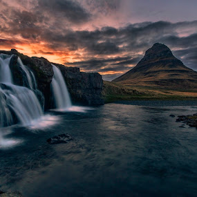 Your secret is my poem by Daniel Herr - Landscapes Sunsets & Sunrises ( kirkjufell, iceland, mountain, waterfall, kirkjufellfoss, midnight sun, long time exposure )
